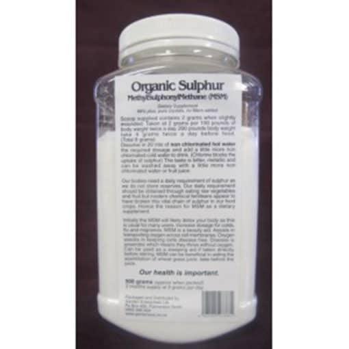 msm organic sulphur 500g jar